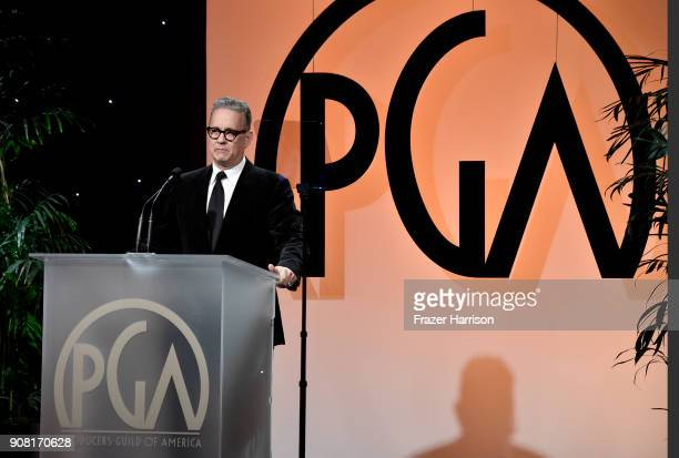 Tom Hanks on stage at the 29th Annual Producers Guild Awards at The Beverly Hilton Hotel on January 20 2018 in Beverly Hills California