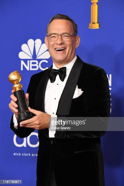 Tom Hanks poses in the press room during the 77th Annual Golden Globe Awards at The Beverly Hilton Hotel on January 05, 2020 in Beverly Hills,...