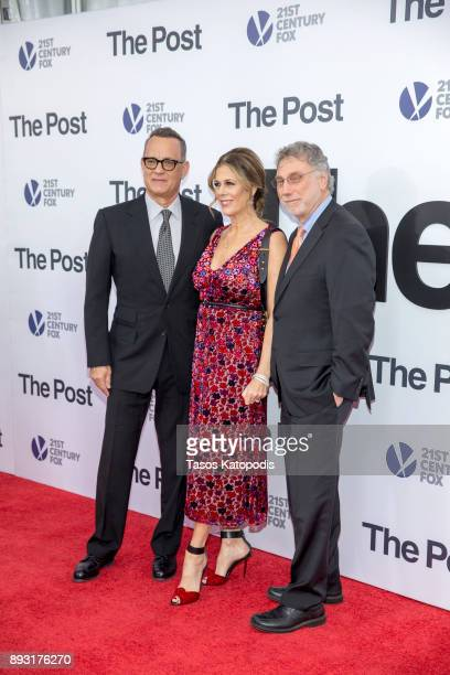 Tom Hanks Rita Wilson and Marty Baron attends the 'The Post' Washington DC Premiere at The Newseum on December 14 2017 in Washington DC