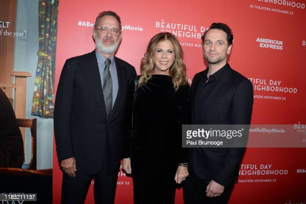 Tom Hanks Rita Wilson and Matthew Rhys attend New York Special Screening Of A Beautiful Day In The Neighborhood at Henry R Luce Auditorium at...