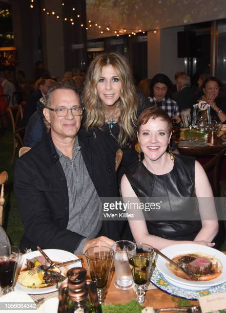 Tom Hanks Rita Wilson and The Music Center President and CEO Rachel S Moore attend Joni 75 A Birthday Celebration Live At The Dorothy Chandler...
