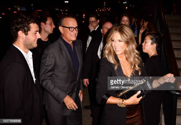 Tom Hanks Rita Wilson and Truman Hanks arrive to the Tom Ford fashion show at Park Avenue Armory on September 5 2018 in New York City