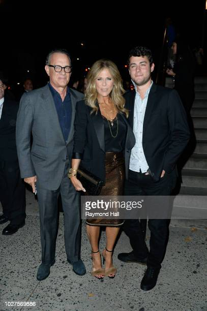 Tom Hanks Rita Wilson and Truman Theodore Hanks are seen attending the Tom Ford fashion during New York Fashion Week at the Park Avenue Armory on...