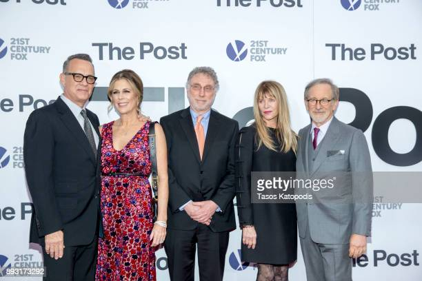 Tom Hanks Rita Wilson Marty Baron Kate Capshaw and Steven Speilberg attends the 'The Post' Washington DC Premiere at The Newseum on December 14 2017...
