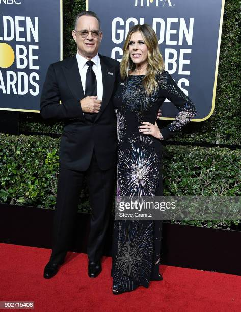Tom Hanks Rita Wilson metoo arrives at the 75th Annual Golden Globe Awards at The Beverly Hilton Hotel on January 7 2018 in Beverly Hills California