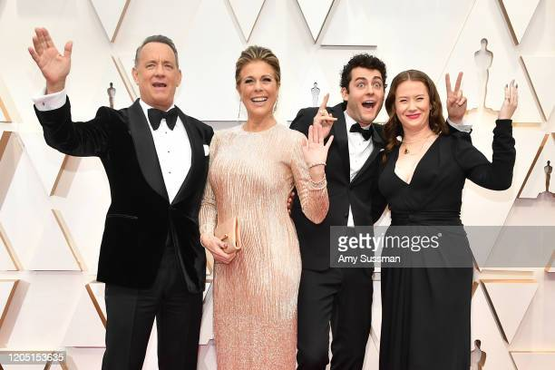 Tom Hanks Rita Wilson Truman Theodore Hanks and Elizabeth Hanks attend the 92nd Annual Academy Awards at Hollywood and Highland on February 09 2020...