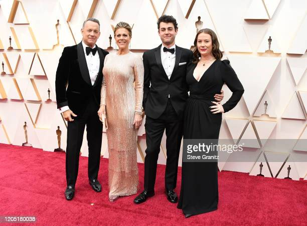 Tom Hanks Rita Wilson Truman Theodore Hanks and Elizabeth Hanks attends the 92nd Annual Academy Awards at Hollywood and Highland on February 09 2020...