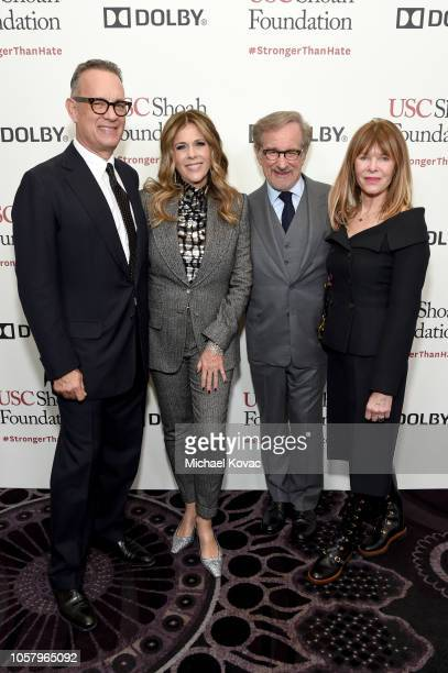 Tom Hanks, Rita Wilson, USC Shoah Foundation founder Steven Spielberg, and Kate Capshaw attend the Ambassadors For Humanity Gala Benefiting USC Shoah...