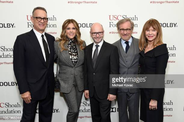 Tom Hanks, Rita Wilson, USC Shoah Foundation's Stephen D. Smith, Steven Spielberg, and Kate Capshaw attend the Ambassadors For Humanity Gala...