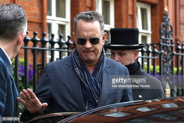 Tom Hanks seen leaving Claridges Hotel on April 27 2016 in London England