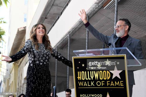 Tom Hanks speaks as Rita Wilson is honored with a star on the Hollywood Walk of Fame on March 29 2019 in Hollywood California