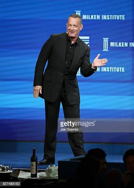 Tom Hanks speaks onstage at the 2016 Milken Institute Global Conference on May 02 2016 in Beverly Hills California