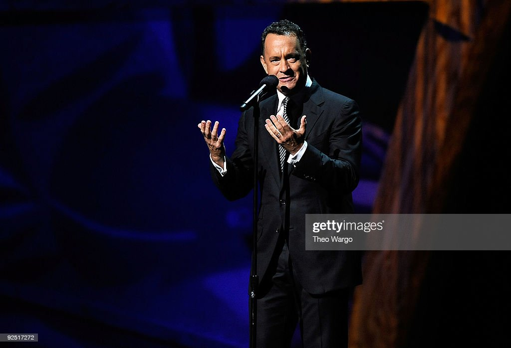 Tom Hanks speaks onstage at the 25th Anniversary Rock & Roll Hall of Fame Concert at Madison Square Garden on October 29, 2009 in New York City.