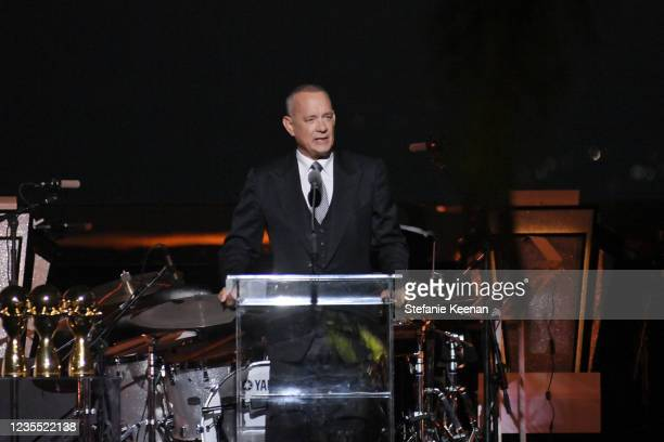 Tom Hanks speaks onstage during the Academy Museum of Motion Pictures: Opening Gala honoring Haile Gerima and Sophia Loren, and Museum Campaign...
