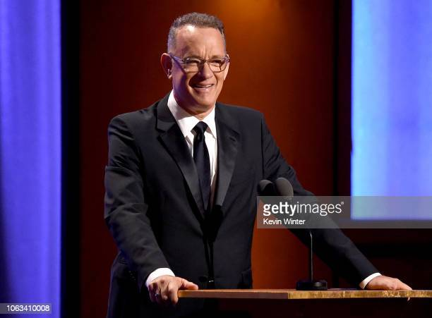 Tom Hanks speaks onstage during the Academy of Motion Picture Arts and Sciences' 10th annual Governors Awards at The Ray Dolby Ballroom at Hollywood...