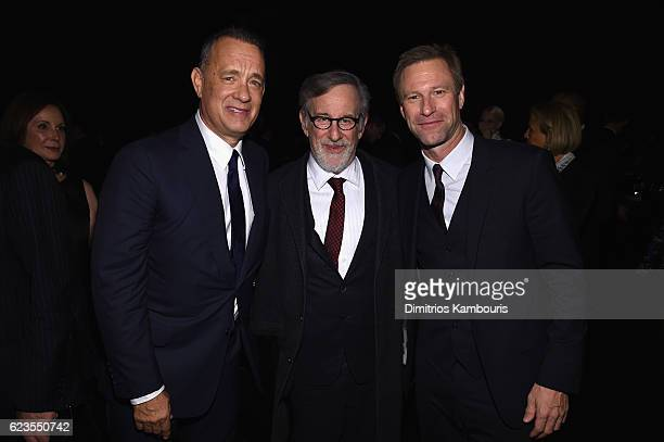 Tom Hanks Steven Spielberg and Aaron Eckhart attend the MoMA Film Benefit presented by CHANEL A Tribute To Tom Hanks at MOMA on November 15 2016 in...