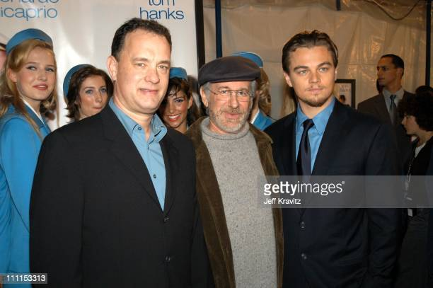 Tom Hanks, Steven Spielberg and Leonardo DiCaprio during Dreamworks Premiere of Catch Me If You Can at Mann Village Theater in Westwood, California,...