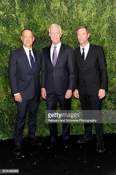 Tom Hanks Sully Sullenberger and Aaron Eckhart attend the 2016 Museum Of Modern Art Film Benefit presented by Chanel A Tribute To Tom Hanks at Museum...