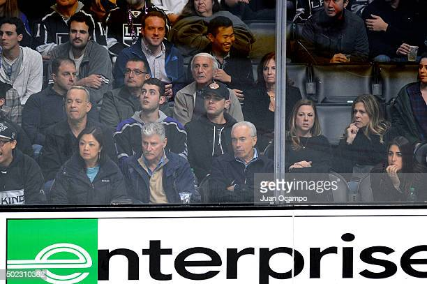 Tom Hanks Truman Hanks Colin Hanks Samantha Bryant and Rita Wilson attend a game between the Los Angeles Kings and the San Jose Sharks at STAPLES...