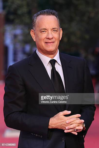 Tom Hanks walks a red carpet on October 13, 2016 in Rome, Italy.
