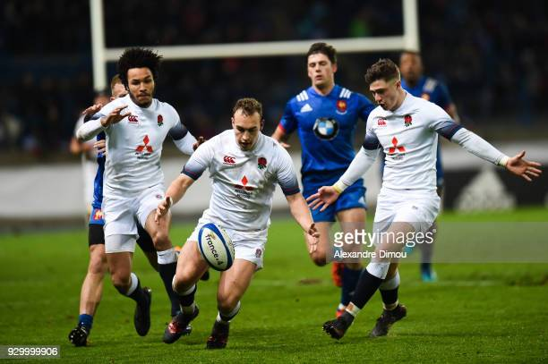 Tom Hardwick and Jordan Olowofela and Cameron Redpath of England during the RBS Six Nations match between France and England at Stade de la...