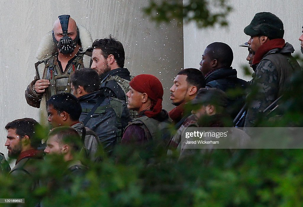Tom Hardy acts in a scene during filming of 'Batman: Dark Knight Rises' at the Mellon Institute building in the Oakland neighborhood of Pittsburgh, Pennsylvania on July 31, 2011.