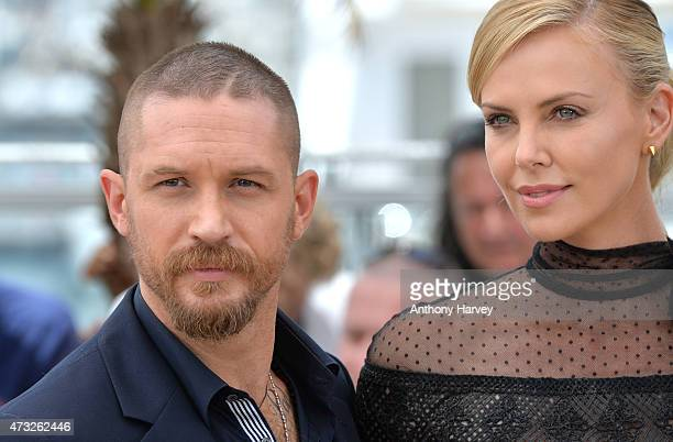 "Tom Hardy and Charlize Theron attend the ""Mad Max: Fury Road"" photocall during the 68th annual Cannes Film Festival on May 14, 2015 in Cannes, France."