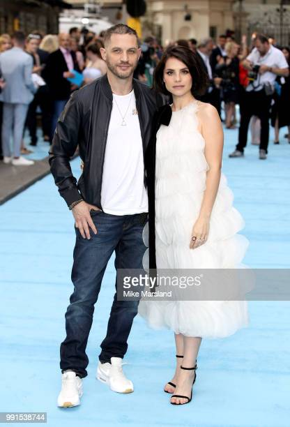 Tom Hardy and Charlotte Riley attend the 'Swimming With Men' UK Premiere at The Curzon Mayfair on July 4 2018 in London England