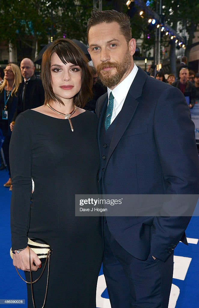 Tom Hardy(R) and Charlotte Riley attend the UK Premiere of 'Legend' at Odeon Leicester Square on September 3, 2015 in London, England.