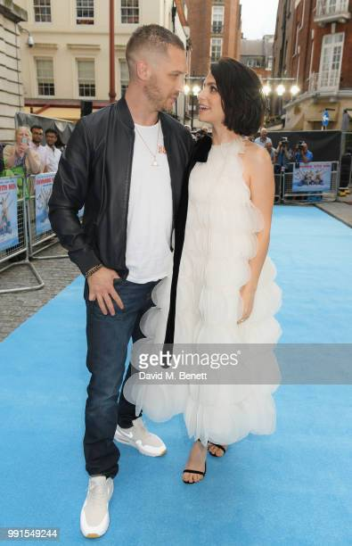 Tom Hardy and Charlotte Riley attend the UK Premiere of 'Swimming With Men' at The Curzon Mayfair on July 4 2018 in London England