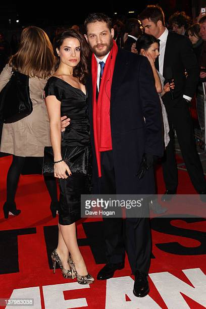 Tom Hardy and Charlotte Riley attends the UK premiere of 'This Means War' at ODEON Kensington on January 30 2012 in London England