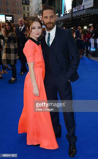 Tom Hardy and Emily Browning attend the UK Premiere of Legend at Odeon Leicester Square on September 3 2015 in London England