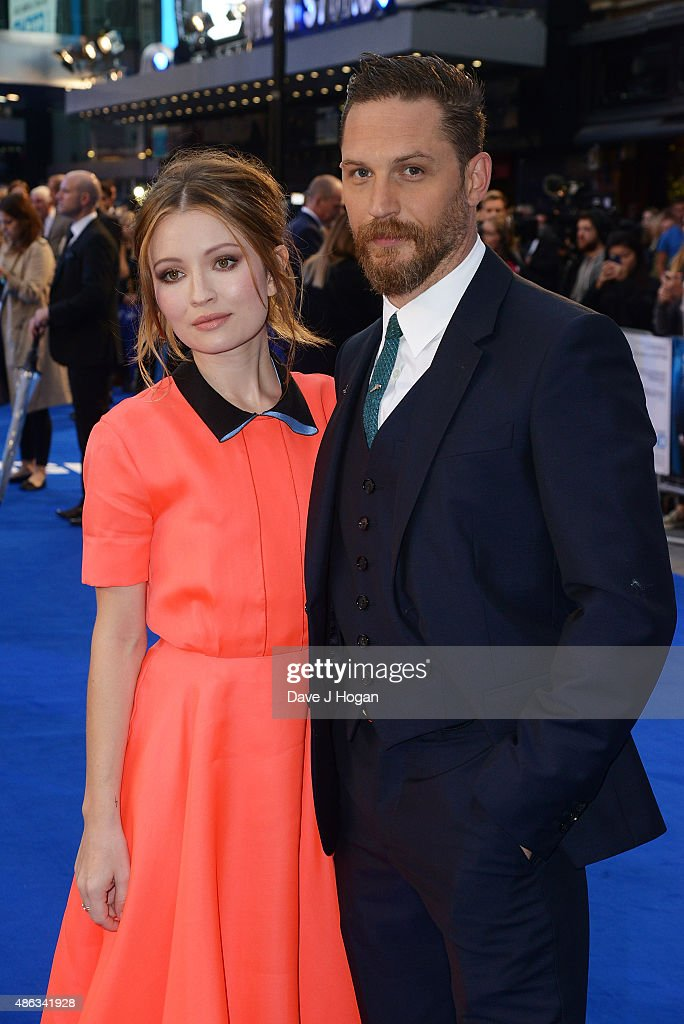 Tom Hardy(R) and Emily Browning attend the UK Premiere of 'Legend' at Odeon Leicester Square on September 3, 2015 in London, England.