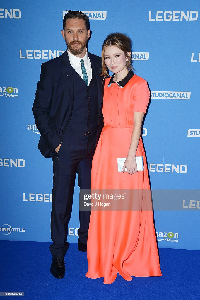 Tom Hardy(L) and Emily Browning attend the UK Premiere of 'Legend' at Odeon Leicester Square on September 3, 2015 in London, England.