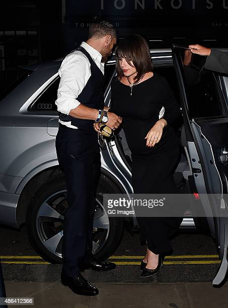 Tom Hardy and his Wife Charlotte Riley arrive at Groucho Club in Soho on September 3 2015 in London England