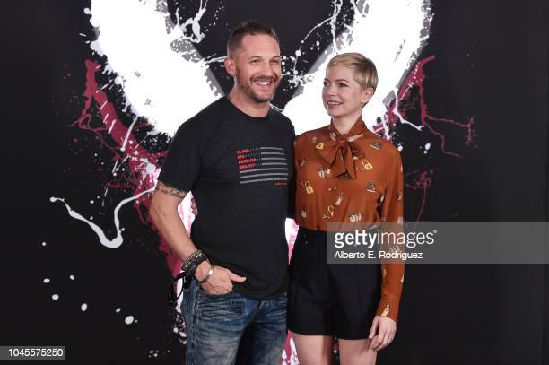 """Tom Hardy and Michelle Williams attend a photo call for Columbia Pictures' """"Venom"""" at the Four Seasons Hotel Los Angeles at Beverly Hills on..."""