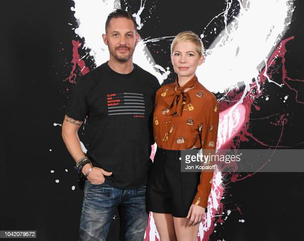 """Tom Hardy and Michelle Williams attend the photo call for Columbia Pictures' """"Venom"""" at Four Seasons Hotel Los Angeles at Beverly Hills on September..."""