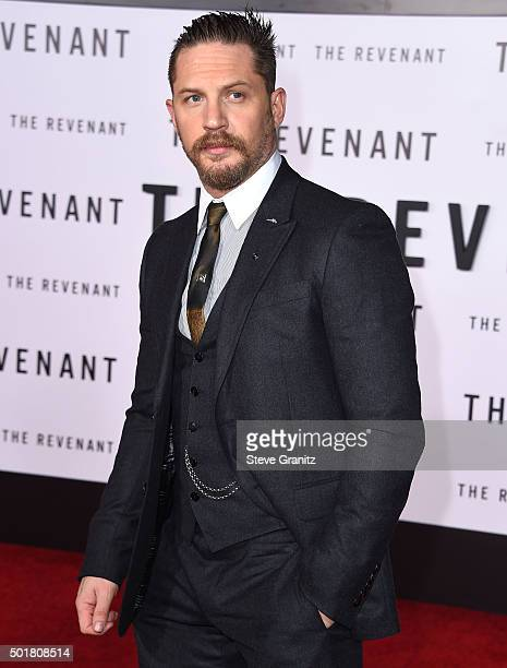 Tom Hardy arrives at the Premiere Of 20th Century Fox And Regency Enterprises' The Revenant at TCL Chinese Theatre on December 16 2015 in Hollywood...