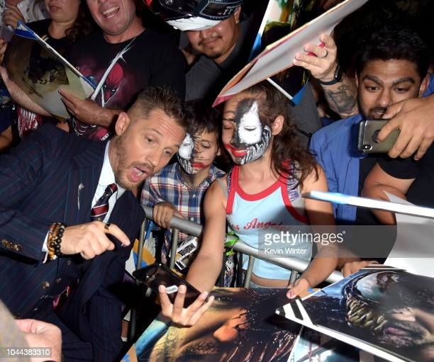 Tom Hardy attends the premiere of Columbia Pictures' 'Venom' at Regency Village Theatre on October 1 2018 in Westwood California