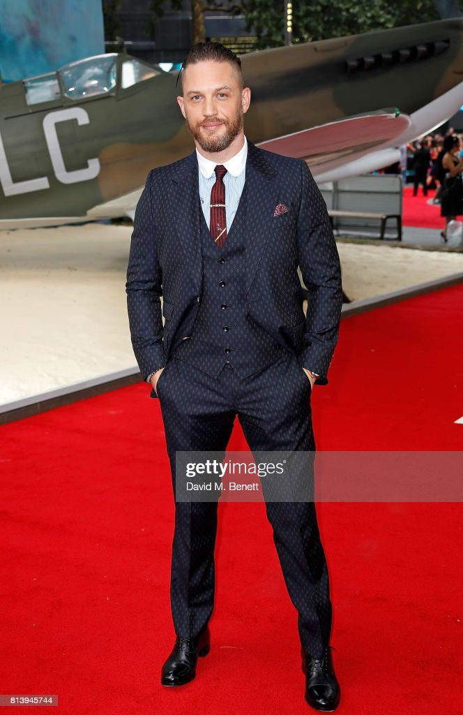 Tom Hardy attends the World Premiere of 'Dunkirk' at Odeon Leicester Square on July 13, 2017 in London, England.