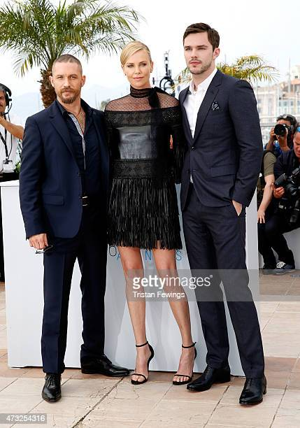 "Tom Hardy, Charlize Theron and Nicholas Hoult attend a photocall for ""Mad Max: Fury Road"" during the 68th annual Cannes Film Festival on May 14, 2015..."
