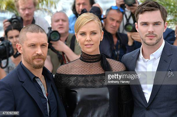 Tom Hardy Charlize Theron and Nicholas Hoult attend the Mad Max Fury Road photocall during the 68th annual Cannes Film Festival on May 14 2015 in...