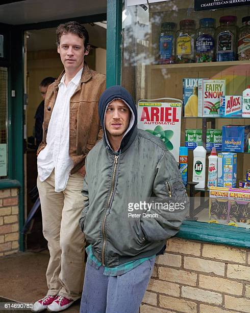 CAMBRIDGE ENGLAND MARCH 2007 Tom Hardy in character as Stuart filming on set for the TV film Stuart a Life Backwards with the author Alexander...