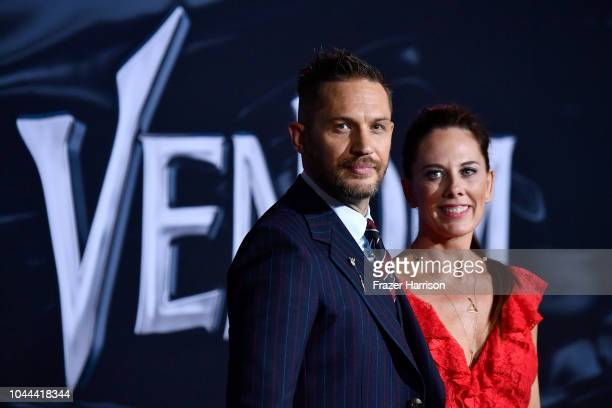 """Tom Hardy, Kelly Marcel attend the Premiere Of Columbia Pictures' """"Venom"""" at Regency Village Theatre on October 1, 2018 in Westwood, California."""