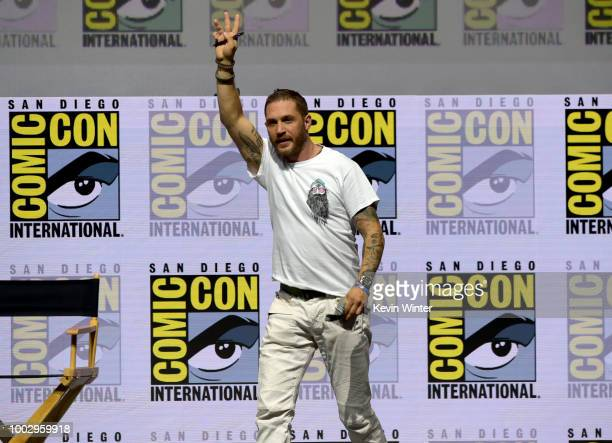 """Tom Hardy speaks onstage at the Sony Pictures' panel for """"Venom"""" during Comic-Con International 2018 at San Diego Convention Center on July 20, 2018..."""