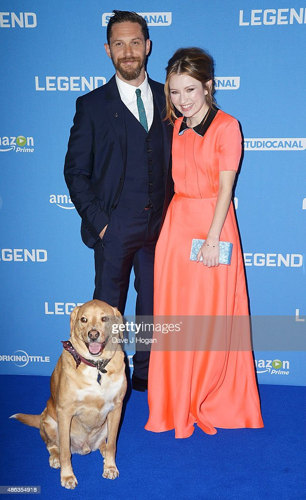 Tom Hardy (L) with his dog Woody and Emily Browning attend the UK Premiere of 'Legend' at Odeon Leicester Square on September 3, 2015 in London, England.