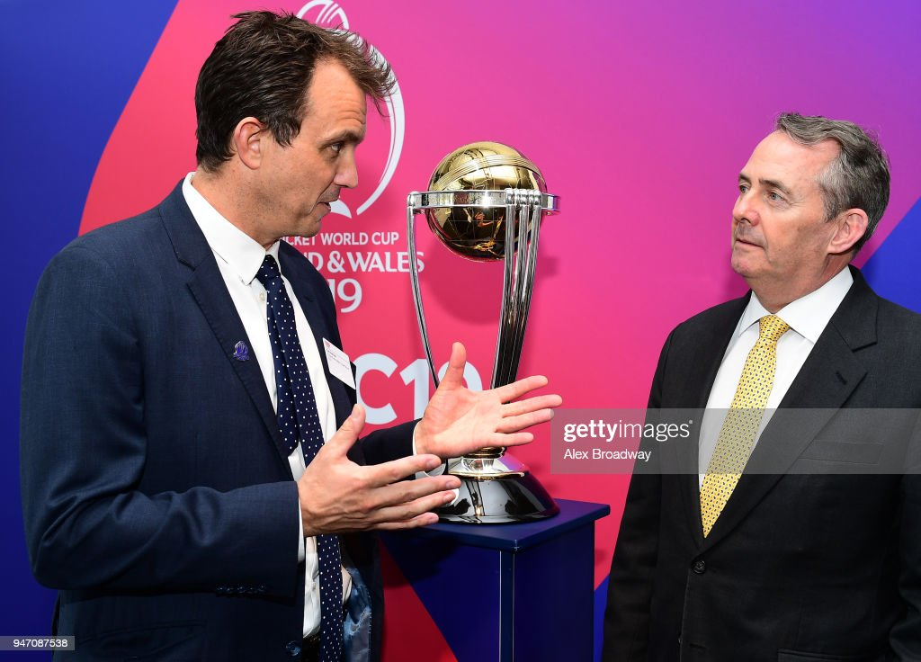 Tom Harrison, CEO of The ECB and Liam Fox, Secretary of State for International Trade attend the Welcome to the UK event at The Queen Elizabeth II Conference Centre on April 16, 2018 in London, England.