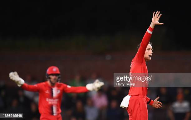 Tom Hartley of Lancashire Lightning appeals unsuccessfully for the LBW of Will Smeed of Somerset during the Vitality T20 Blast Quarter Final match...