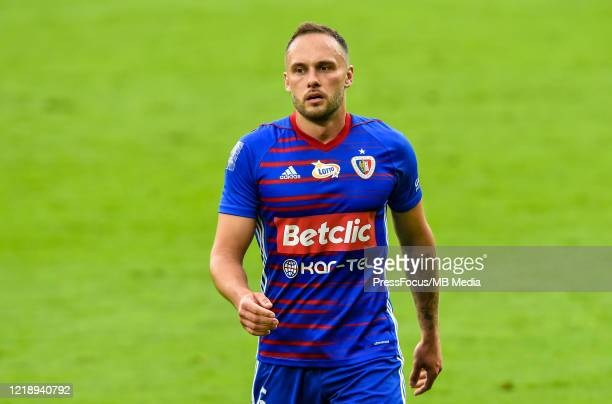Tom Hateley of Piast looks on during the PKO Ekstraklasa match between Gornika Zabrze and Piast Gliwice at Ernest Pohl Stadium on June 9, 2020 in...