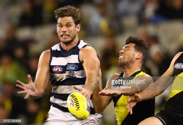 Tom Hawkins of the Cats and Alex Rance of the Tigers compete for the ball during the round 20 AFL match between the Richmond Tigers and the Geelong...